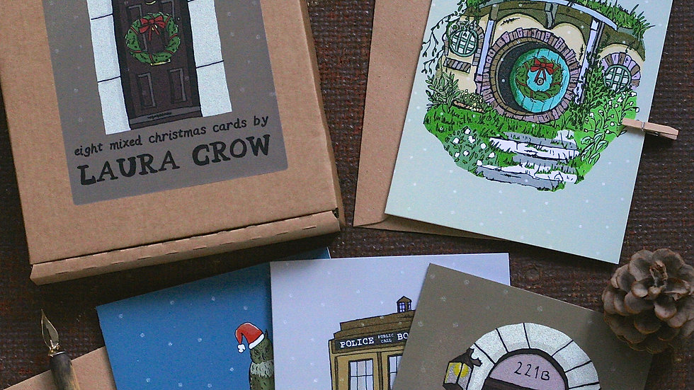Christmas Card Pack Eight Mixed Geeky Designs
