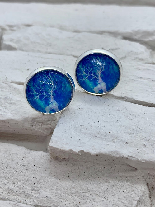 Silver Pendant Studs Blue Tones Deer