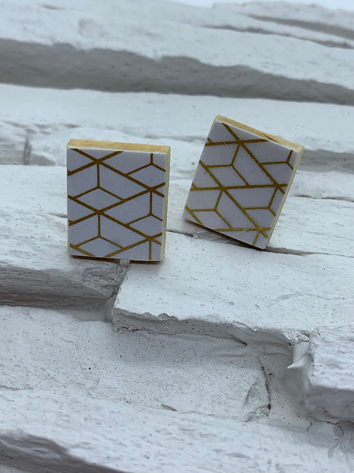Printed Wooden Studs - White/Gold Geometric