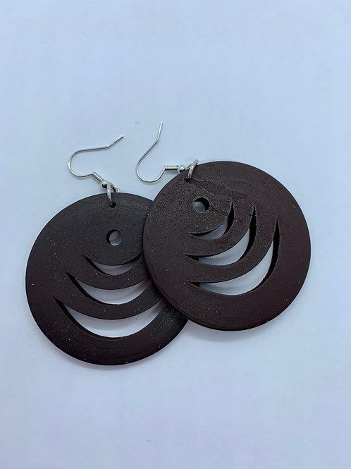 Flat Round Hollow Wood Coffee Brown Dangle Earrings