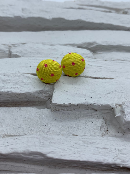 Material Studs - Yellow Pink Polka Dot