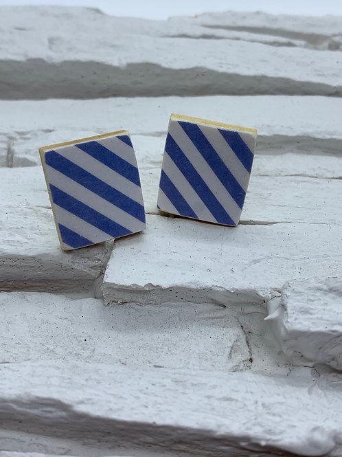 Printed Wooden Studs - Blue/White Stripe