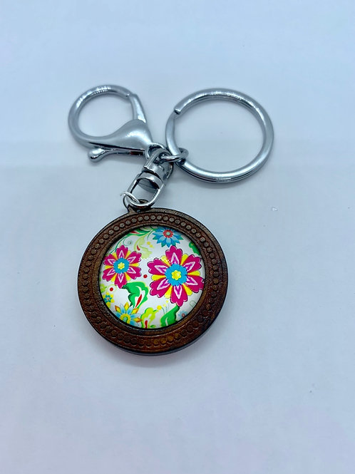 Silver Wooded Pattern Simple Floral Key Ring