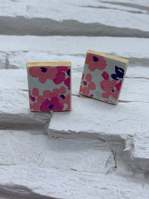 Printed Wooden Studs - Pink/Blues Floral