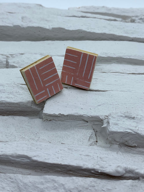 Printed Wooden Studs - Pink, White Stripes