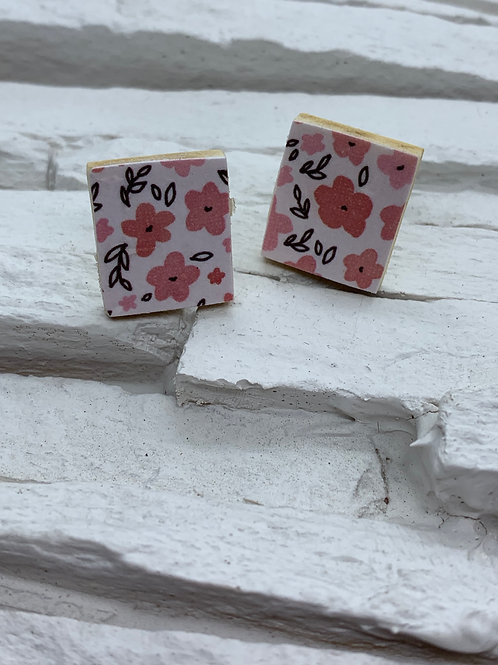 Printed Wooden Studs - Pink/Red Floral