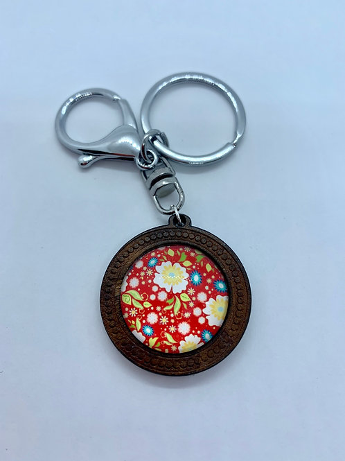 Silver Wooded Pattern Red and White Floral Key Ring