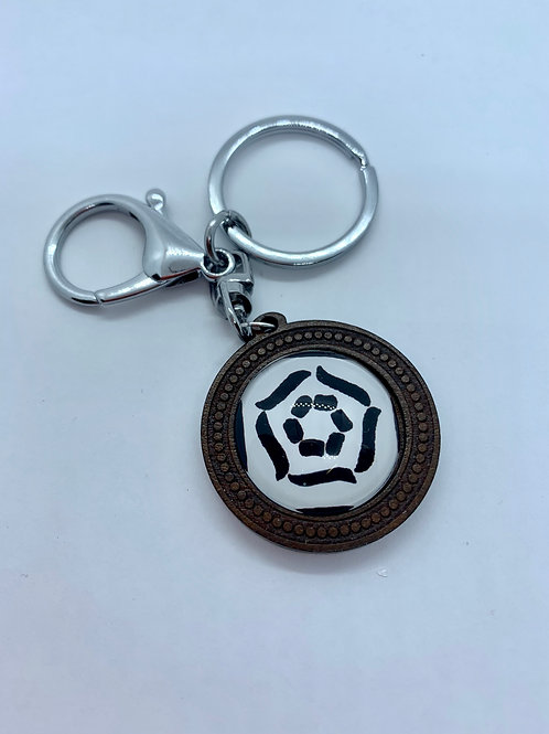 Silver Wooded Pattern White and Black Patten Key Ring