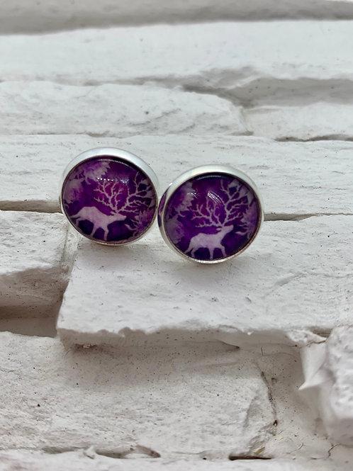 Silver Pendant Studs Purple/White Deer