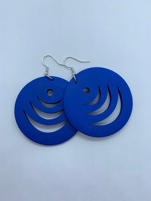Flat Round Hollow Wood Blue Dangle Earrings