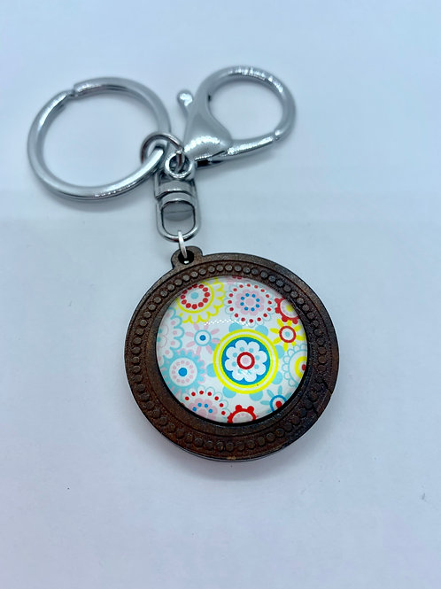 Silver Wooded Pattern Retro Floral Key Ring