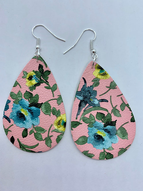 PU Leather Pink/Blue Flower Pendant Drop
