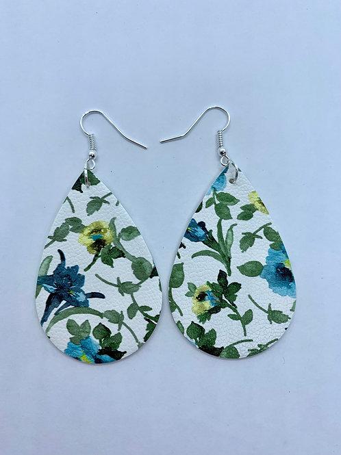 PU Leather Blue/Green Flower Pendant Drop