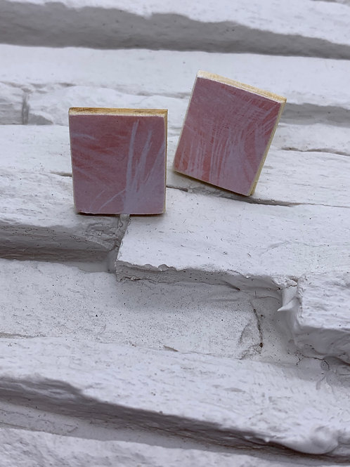 Printed Wooden Studs - Pink/White Leaf