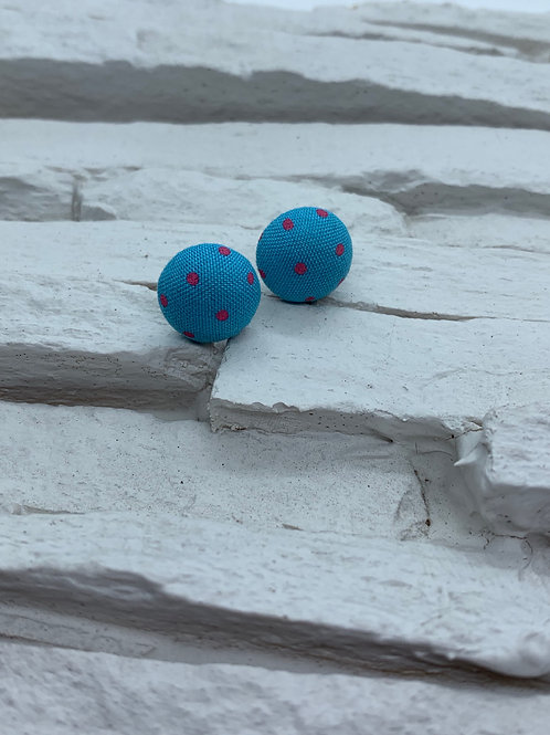Material Studs - Blue Pink Polka Dot