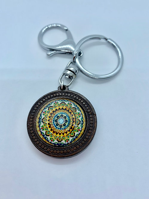 Silver Wooded Pattern Yellow Boho Mandala Key Ring