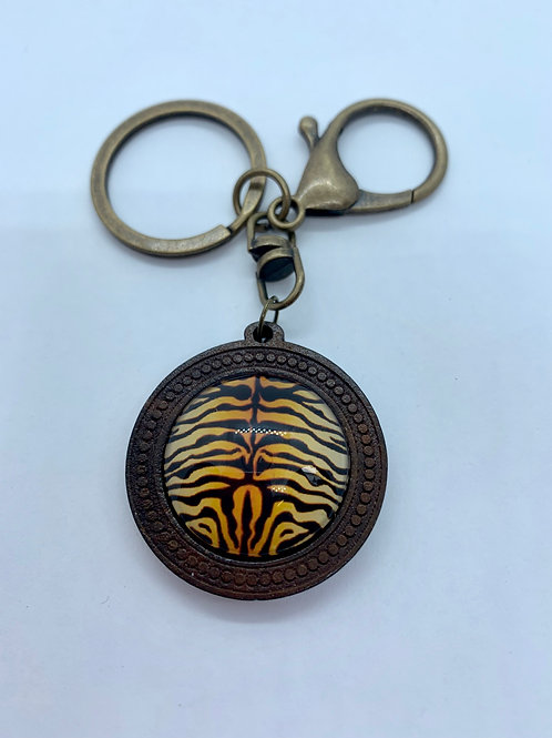 Antique Bronze & Wooded Pattern Tiger Print Key Ring
