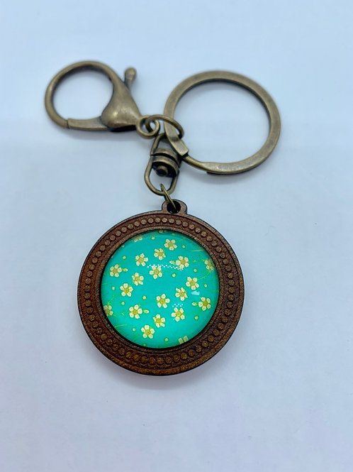 Antique Bronze & Wooded Pattern Blue with Daisy Key Ring