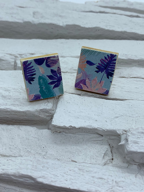 Printed Wooden Studs - Pink/Purple/Turquoise Leaf