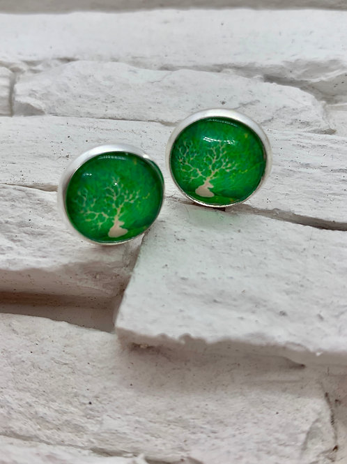 Silver Pendant Studs Green/White Deer