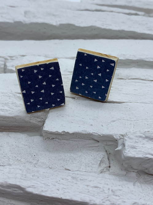 Printed Wooden Studs - Navy Blue, White Triangle