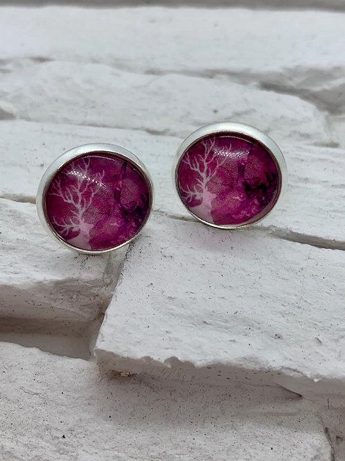 Silver Pendant Studs Pink/Black Deer
