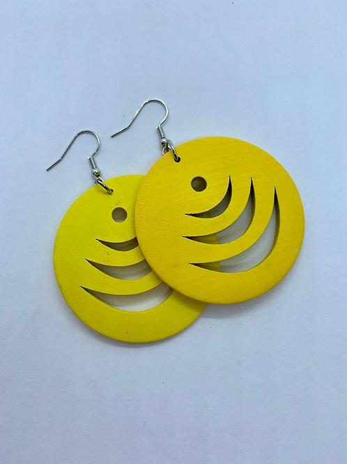 Flat Round Hollow Wood Yellow Dangle Earrings