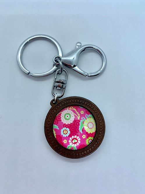 Silver Wooded Pattern Pink Floral Key Ring
