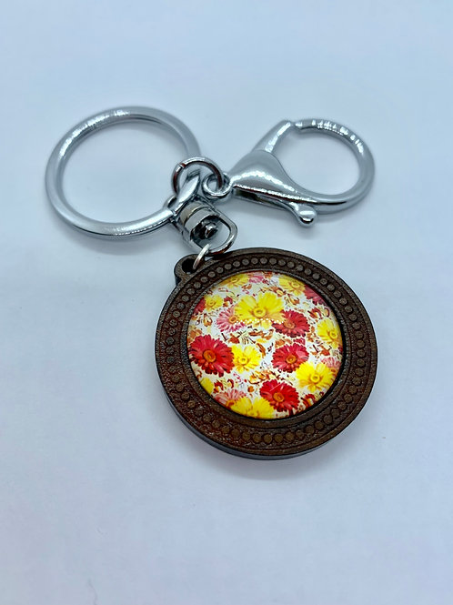 Silver Wooded Pattern Red and Yellow Gerbera Key Ring
