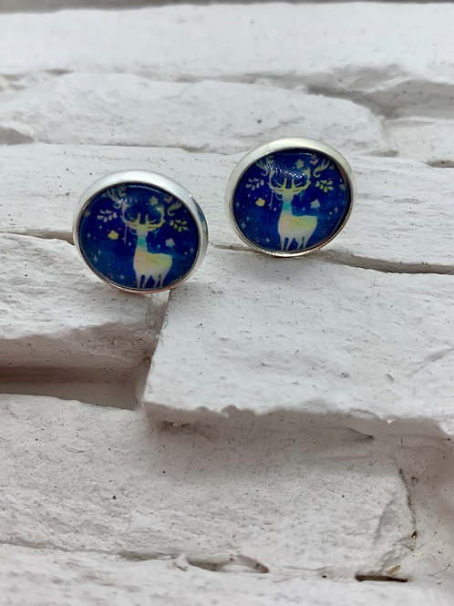 Silver Pendant Studs Blue/White Leaves Deer