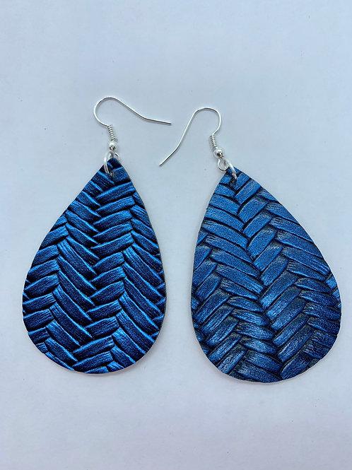 PU Leather Blue Braided Pendant Drop