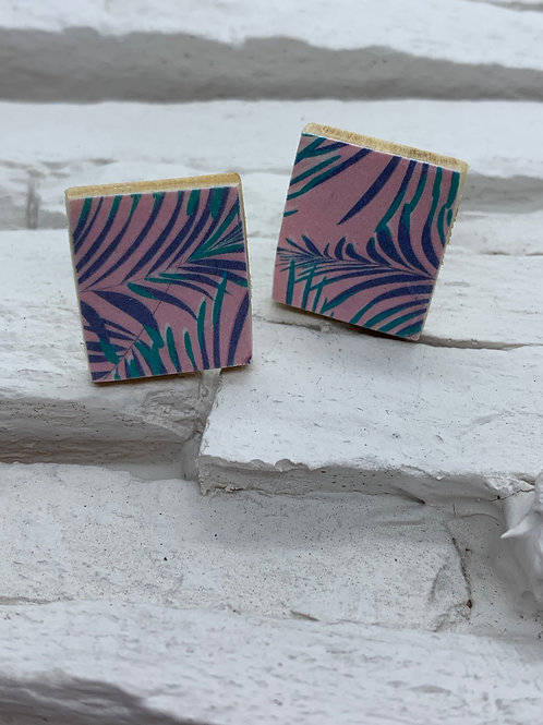 Printed Wooden Studs - Pink, Purple, Turquoise Palm
