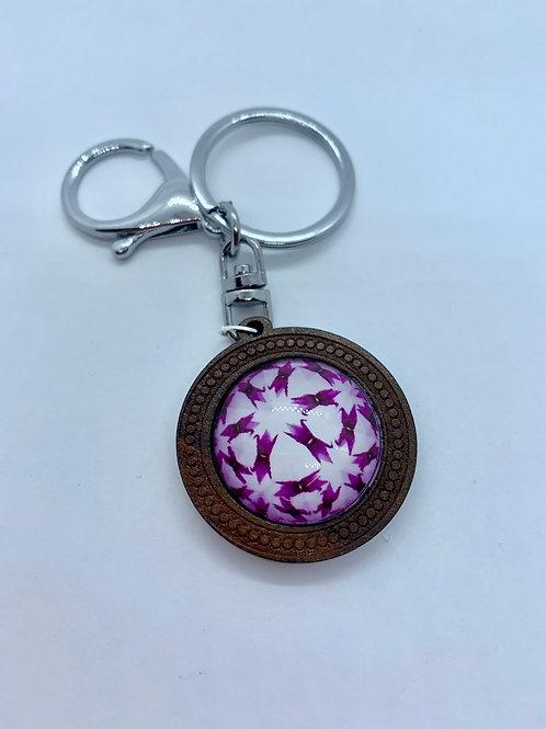 Silver Wooded Pattern Purple Kaleidoscope Key Ring