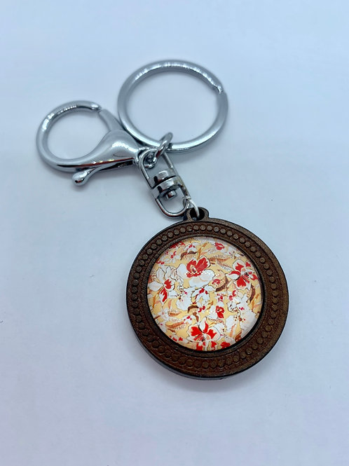 Silver Wooded Pattern Peach Floral Key Ring