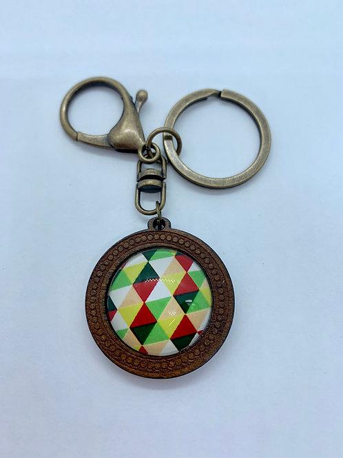 Antique Bronze & Wooded Pattern Diamond Key Ring