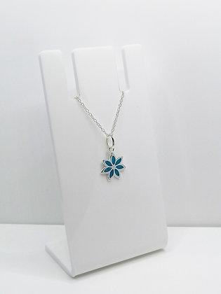 Sterling Silver Flower Pendant - Blue
