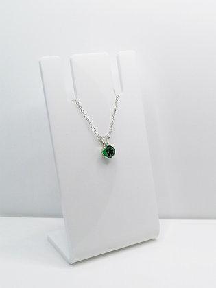 Sterling Silver CZ Pendant - Green