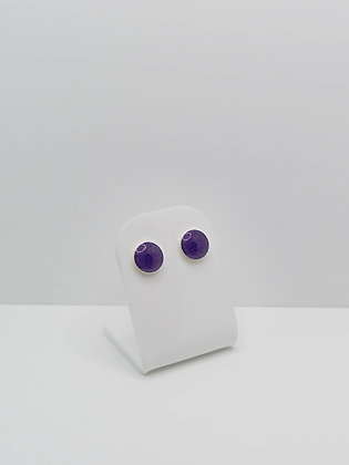 Sterling Silver 8mm Round Resin Studs - Purple