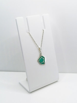 Sterling Silver Geometric Pendant - Turquoise