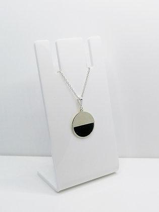 Sterling Silver Semi Circle Pendant - Black