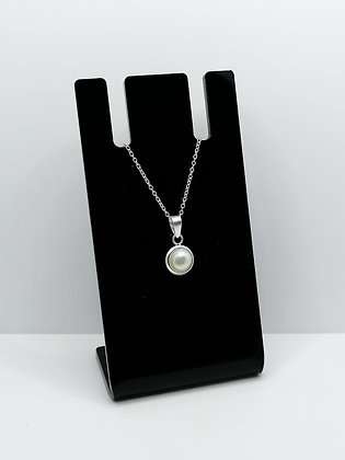 Sterling Silver Round Pendant Pearl