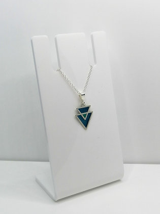 Sterling Silver Triangles Pendant - Teal Blue
