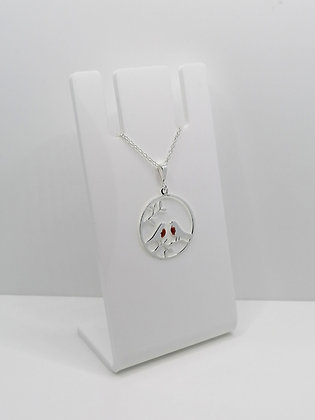 Sterling Silver Robin Pair on Branch Pendant