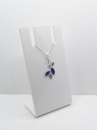 Sterling Silver Multi Leaf Pendant - Purple