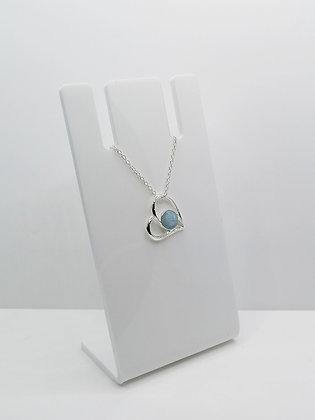 Sterling Silver Heart Pendant - Pale Blue