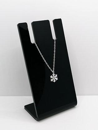 Sterling Silver Snowflake Pendant - CZ