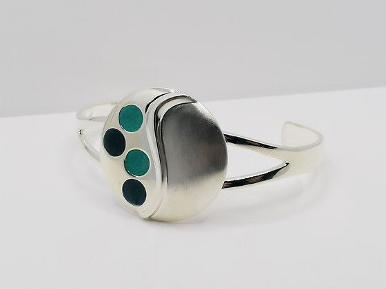 Silver Plated Circle Resin Bangle - Turquoise