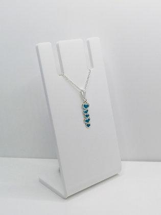 Sterling Silver 5 Heart Pendant - Blue