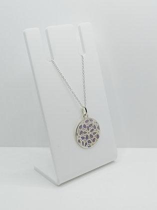 Sterling Silver Round Flower Pendant - Purple