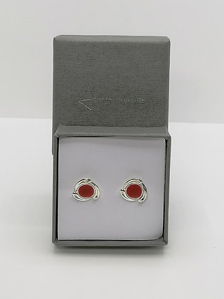 Sterling Silver Swirl Edge Studs - Red